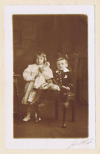 Edwardian Children with Toy Doll Antique Photograph c1910