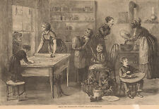 Thanksgiving Pudding Family Cooks Eytinge 1879 Harper's Antique Engraving Print