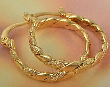 Classic Womens Yellow Gold Filled Braided Round Hoop Earrings Lot Fashion