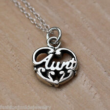 Aunt Charm Necklace - 925 Sterling Silver *NEW* Auntie Family Niece Nephew Gift