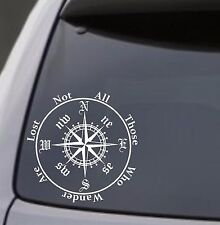 "COMPASS ""Not All Those Who Wander Are Lost"" Vinyl Decal Sticker Car Window Wall"
