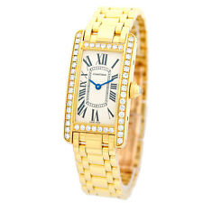 CARTIER 18K Yellow Gold Tank Americaine Factory Diamonds American Box Warranty