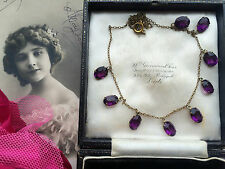Antique 1900s Edwardian Bohemian Amethyst Paste Open Back Riviere Drop Necklace