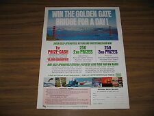 1967 Print Ad Kelly Springfield Tires Contest Golden Gate Bridge