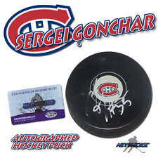 SERGEI GONCHAR Signed MONTREAL CANADIENS Puck w/COA