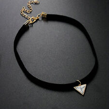 Simple Triangle Marble white Pendant Black Velvet Choker Statement Necklace one