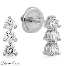 0.6 CT 3-STONE Solitaire ROUND EARRINGS 14K WHITE GOLD Past Present Future
