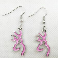 Hot 1 pair pink Browning Deer Earrings Women Jewelry Dangle Earrings