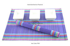 6 handmade bamboo napperons fait main table mats, violet-arc-en-ciel, P061