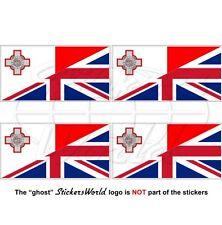 MALTA-GB Bandiera Maltese-Grande Bretagna Bretagnese Adesivi 50mm Stickers x4
