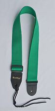Guitar Strap For Acoustics & Electrics Green Nylon & Leather Ends Made In USA