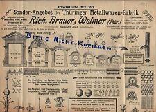 WEIMAR, Prospekt 1906, Richard Brauer Thüringer Metallwaren-Fabrik Wandbeschläge