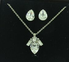 Sorrelli Teardrop Necklace Pendant and Post Earring Gift Set GCT60ASCRY