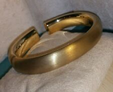 Ross Simons Satin 18k Yellow Gold Sterling Silver Puffy Cuff Bangle bracelet
