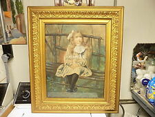 Antique American Painting Child Girl Portrait Primitive Folk Art