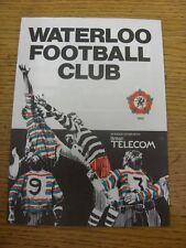 07/09/1985 rugby union programme: waterloo v richmond [mérite table] (plié, thé