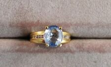 14K Ring w/ Unheated Untreated VS Light Blue Ceylon Sapphire & Diamonds A17
