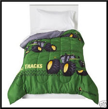 4 pc - JOHN DEERE Reversible COMFORTER & SHEET Set - Tractors GREEN TWIN *NEW*