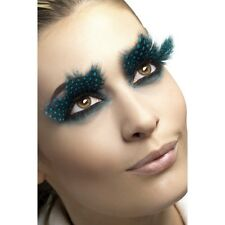 Long Feather False Eyelashes Beauty Fancy Dress Natural Fake Bird Aqua Dots
