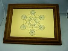 Metatron's Cube - Sacred Geometry Wall Art on Gold Brushed Metal with Frame