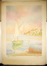 """""""la voile blanche """" num 51/225 gravure signée Salvador Cavalle the white sail"""