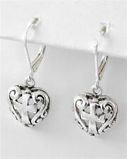 NWT CROSS & HEART ANTIQUE SILVER FILIGREE DANGLE EARRINGS PREMIER BRIGHTON BAY