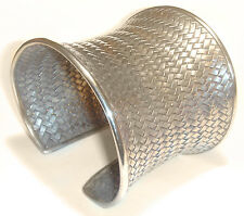 """African VINTAGE 2.5"""" WOVEN Antique STERLING Concave TRIBAL CUFF BRACELET"""