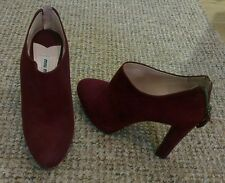 Amazing Miu Miu @ Prada burgundy suede ankle boots, glittered heel 37 UK 4 new!
