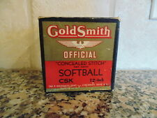 NOS Vintage 1940s Antique Goldsmith Official Softball w Box SKS Concealed Stitch