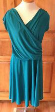 SOPRANO NEW  NWT PLUS SIZE 2X Silky Stretch Crossover-Neck Dress, Jade Green
