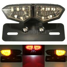 Motorcycle Smoke LED Brake Rear Tail Turn Signal Plate Integrated Light Lamp 12V