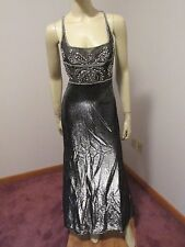 BADGLEY MISCHKA Elegant Beaded Crystal Bodice Runway Red Carpet Gown sz 6 Black