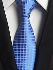 New Classic Checks Baby Blue White JACQUARD WOVEN 100% Silk Men's Tie Necktie
