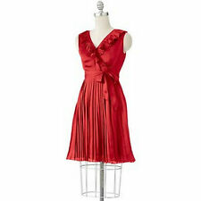 Apt 9 Misses Womens Red Satin Ruffled Pleated Accordion Sleeveless Dress XL