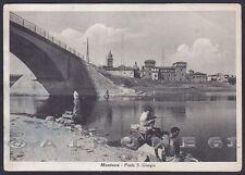 MANTOVA CITTÀ 35 PONTE Fiume MINCIO - PESCA Cartolina viaggiata 1952