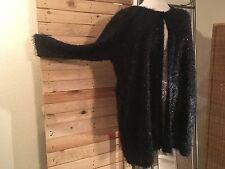 *MAGNA* wunderschöne Jacke im Fusel-Look, schwarz, GR. 56/58, leicht transparent
