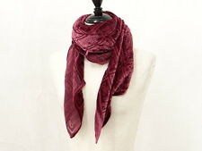Auth Christian Dior Velor Scarf Muffler Stole Italy Red Rayon 13131101900 q14G