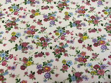 Subtle Pink Floral/Flowers 100% Cotton Poplin Printed Fabric.