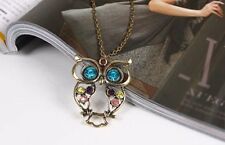 Women Vintage Rhinestone OWL Pendant Long Chain Necklace jumper fashion Gift uk