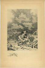 ANTIQUE VICTORIAN WOMAN HORSE RESCUES GIRL DRESSED AS BOY REMARQUE ETCHING PRINT