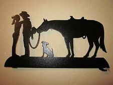 COWBOY COWGIRL DOG AND HORSE MAILBOX TOPPER (NO NAME) STEEL BLACK POWDER COAT