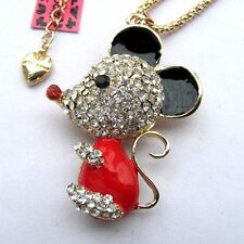 Betsey Johnson crystal Red&black enamel Cute little mouse pendant Necklace#339L