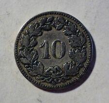 Schweiz / Helvetia - 10 Rappen 1882 B - Ni - ss / vf erhalten
