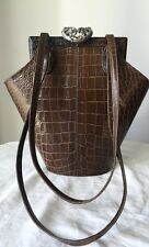 VINTAGE GLEN MILLER FOR ANN TURK BROWN EMBOSSED CROC/ALLIGATOR LEATHER HANDBAG