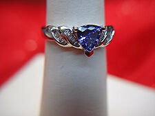 14K WHITE GOLD & SPARKLING IOLITE & BAGUETTE DIAMOND RING - HAVE A LOOK