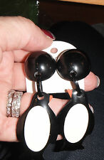 earring marion godart dangling penguin birds clip huge chandelier black vanilla