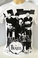 THE BEATLES vintage rock band mens handmade white t shirt size M