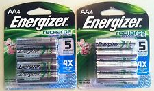 8 Energizer Recharge Rechargeable AA Battery 2300mAh NiMH (2) 4 pack Low Price!!