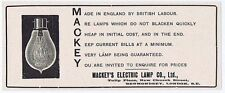 Mackeys Electric Lamp Co Ltd New Church St Bermondsey - Antique Advert 1904