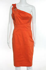 David Meister Orange Beaded Embellishment Knee Length One Shoulder Dress Size 6